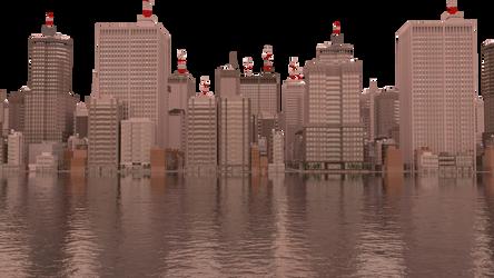 City on water sketch. by Puffolotti4iji