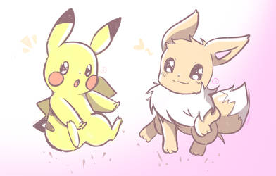Pikachu and Eevee! by Eiveon