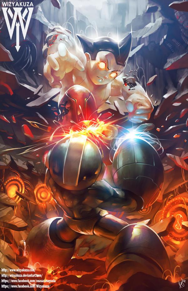 Megaman Vs Astro boy by wizyakuza