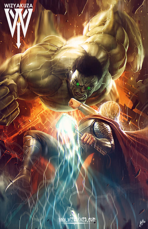 Hulk vs Thor by wizyakuza