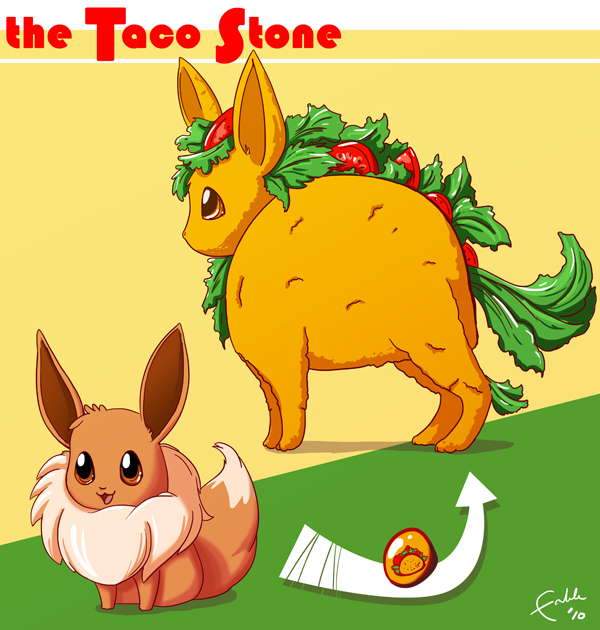 Eevee and The Taco Stone by fablefire
