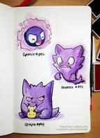 160307 Gastly Trio by fablefire