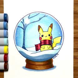 180125 Pikachu Snowglobe by fablefire