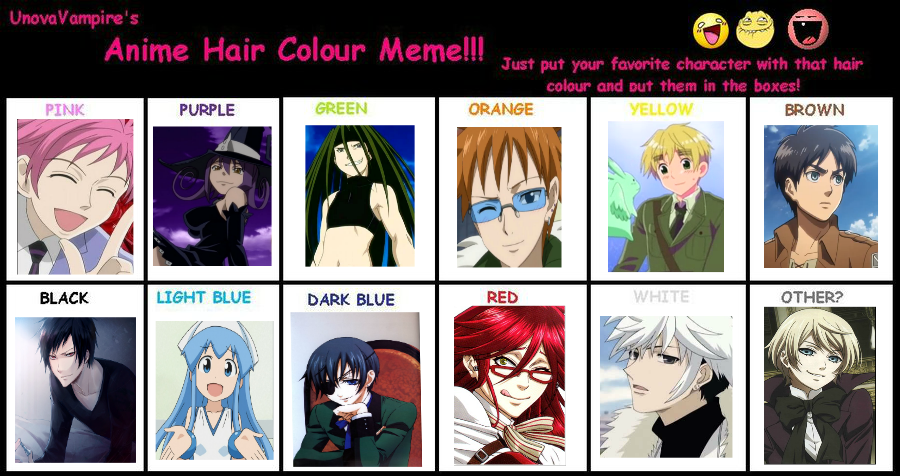 Anime Hair Color Meme XD By SierraFaith