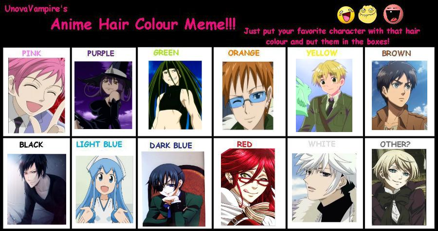 Anime Hair Color Meme XD By SierraFaith On DeviantArt