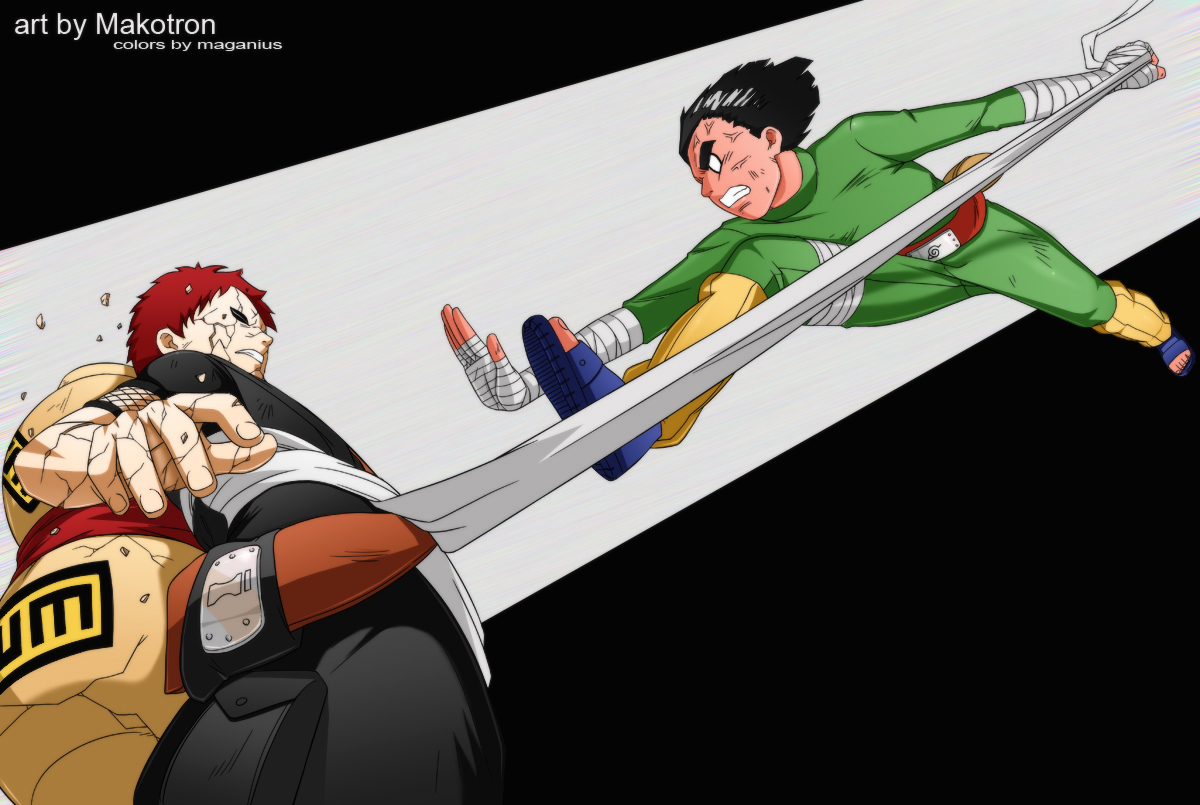 Gaara vs Rock Lee by Maganius on DeviantArt Gaara And Lee
