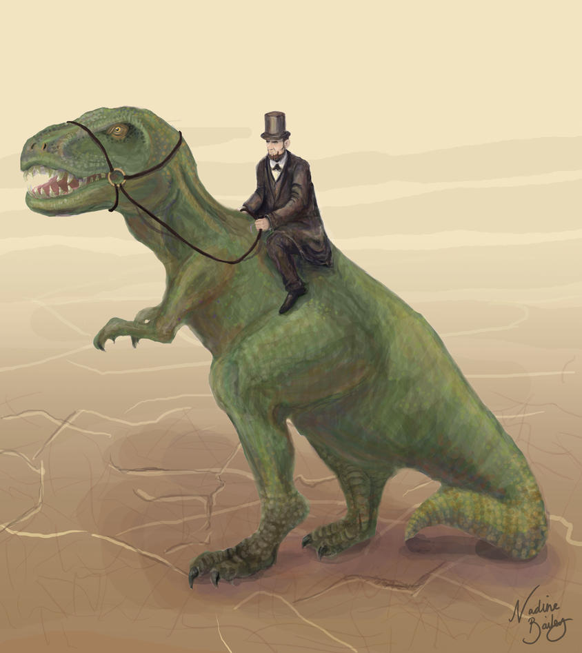 lincoln_riding_a_dinosaur_by_luxnax-d5ld