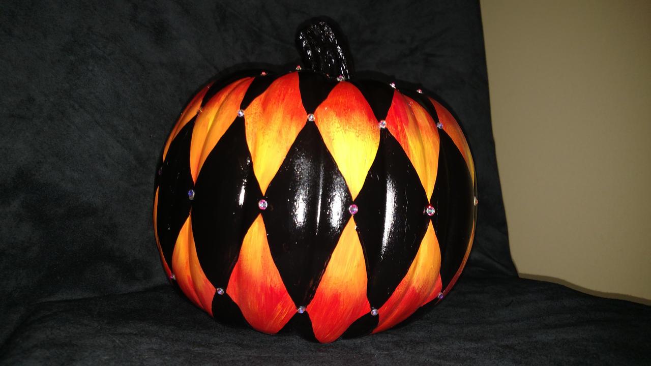 Hellfire and Rhinestone Harlequin Pumpkin