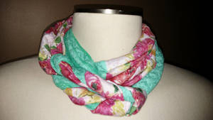Floral and Turquoise Braided Infinity Scarf