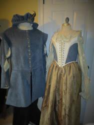 Renaissance Costumes Blue Corduroy