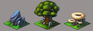 the stone, the tree and the mushroom