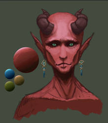 Tiefling Sketch by SpazzCreations