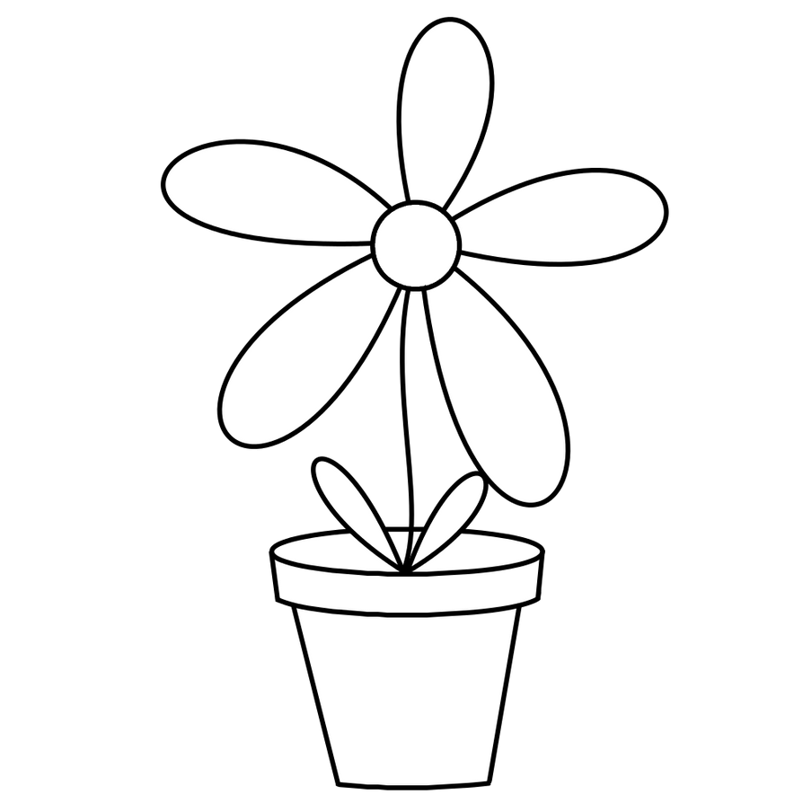 Black and white flower pots - Flower Pot Digistamp By Janettebernard