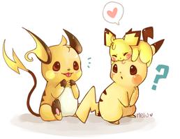 Pichu, Pikachu and Raichu by MeluuArts