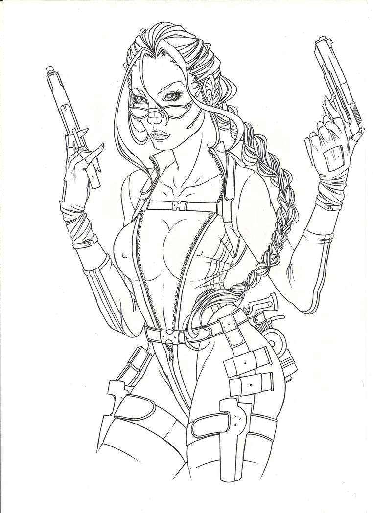 tomb raider coloring pages - Lara Croft Coloring Pages