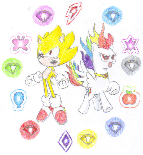 Chaotic Harmony:Super Sonic and Super Rainbow Dash by MegaArtist923