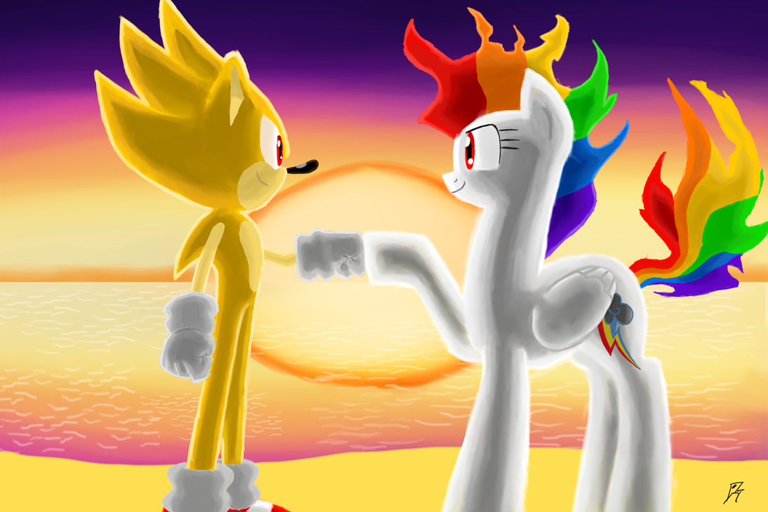 Super Sonic and RD Brohoof at the Beach by MegaArtist923