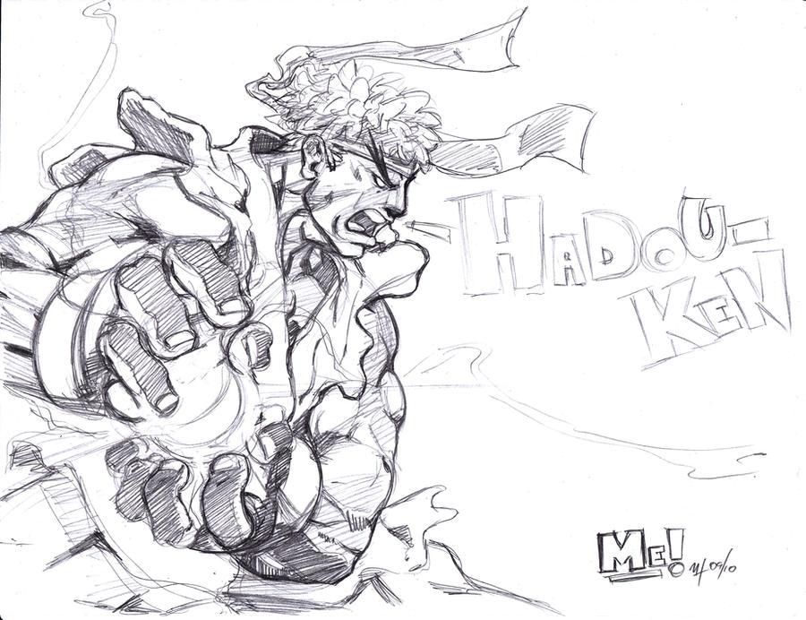 ryu hadouken sketch by pencilprophet on deviantart