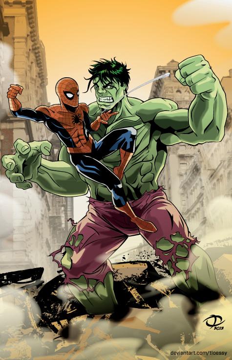 Spider-Man vs. Hulk by Tloessy on DeviantArt