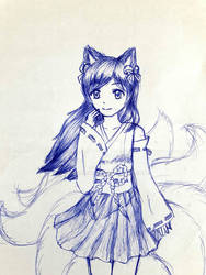 Shrine Maiden Nine-tailed fox girl