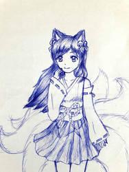 Shrine Maiden Nine-tailed fox girl
