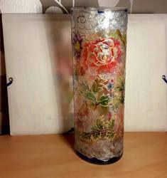 Work on vase  1 - Red peonies