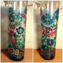 Work on vase 2 - blue flower way