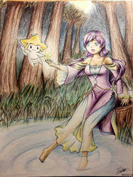 Nozomi and Jirachi in the woods