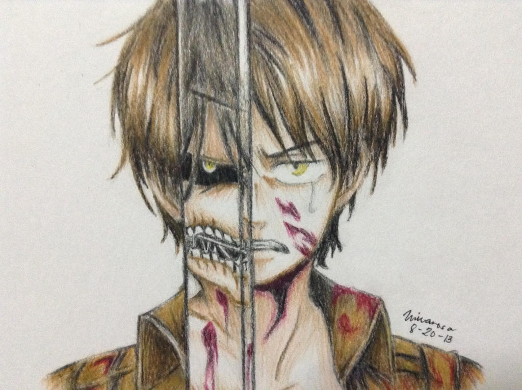 Eren Jaeger Colored Drawing by FrownedClownEren Jaeger Drawing