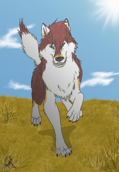 running wolf by HikariSilverEye