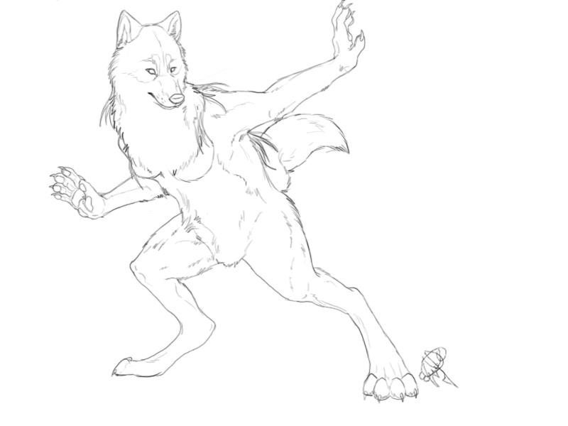 werewolf lineart by HikariSilverEye