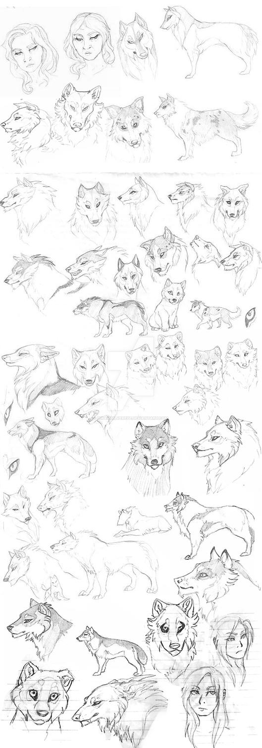Woof Sketchdump by HikariSilverEye