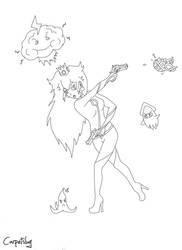 Determined to win Princess Peach (Line art) by CarpetSlug