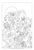 JLA Zombies lineart by BryanSevilla