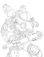 Combat Mech Lineart by BryanSevilla