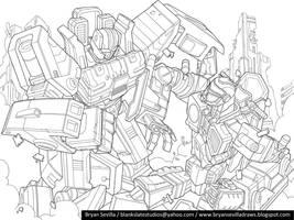 Mayhem Mekaniks: Battle Scene Lineart by BryanSevilla