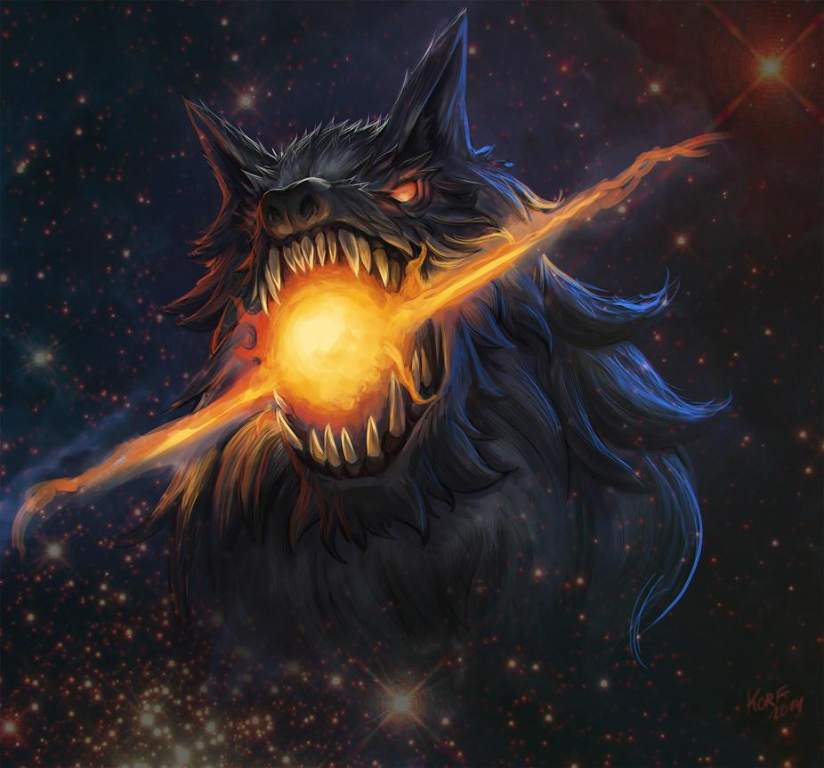 Fenrir devours the sun by 3ihard