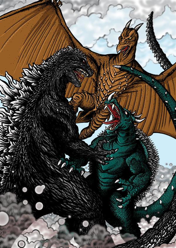 Godzilla Anguirus Godzilla rodan anguirus byGodzilla Vs Anguirus Rodan And King Caesar