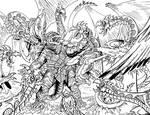 Gamera vs a swarm of Basilisk