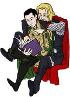 Thor harassing Loki by LadyNorthstar
