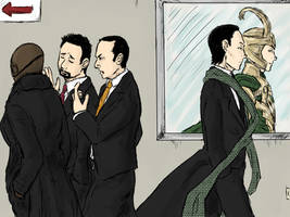 Loki at the SHIELD by LadyNorthstar