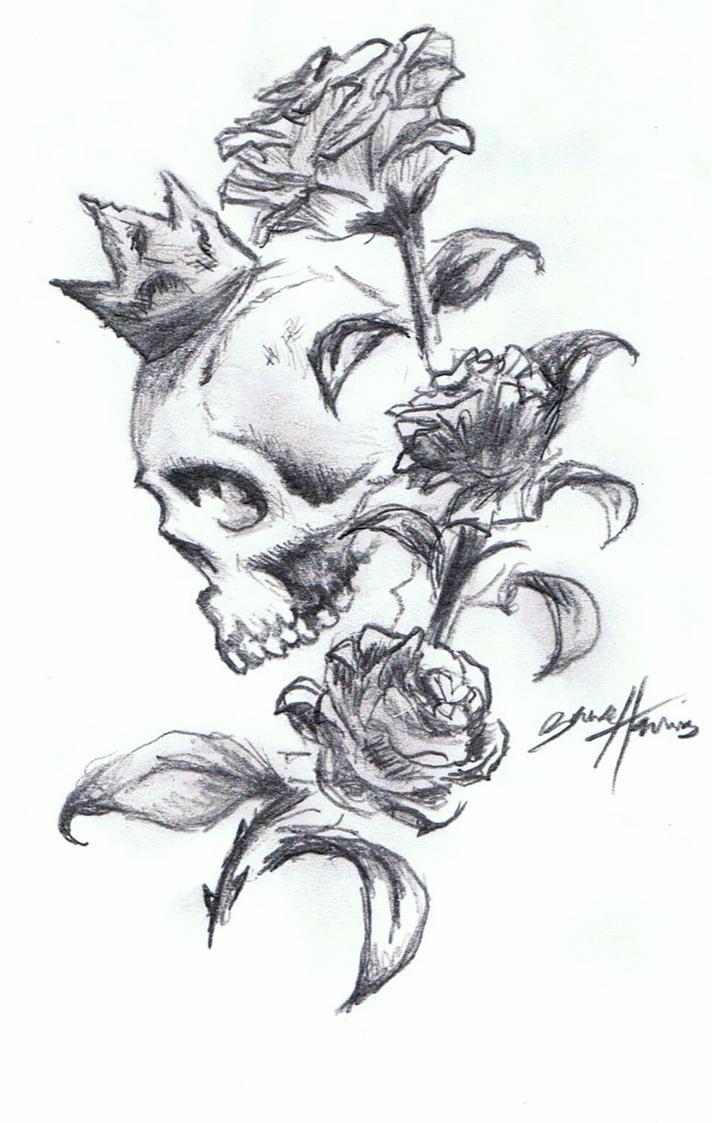 skull 39 n 39 roses tattoo design by paramajamas on deviantart. Black Bedroom Furniture Sets. Home Design Ideas