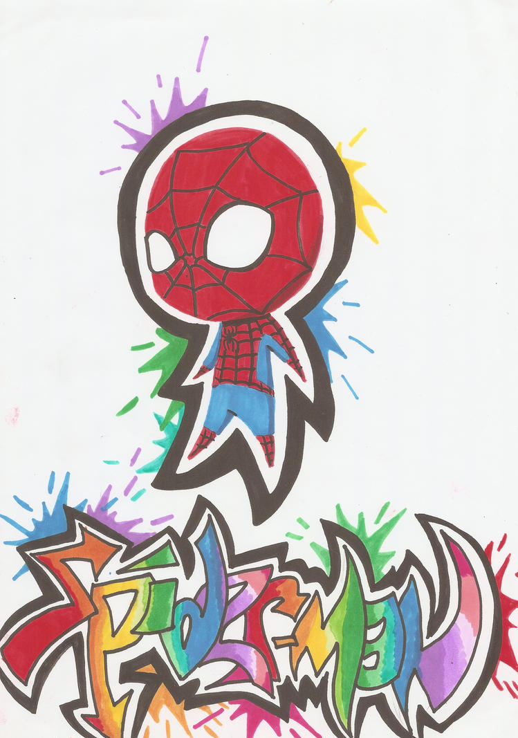 Graffiti Splatter Spidey by edwardscissorhands33