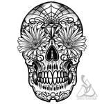 Day of the dead sugar skull outline