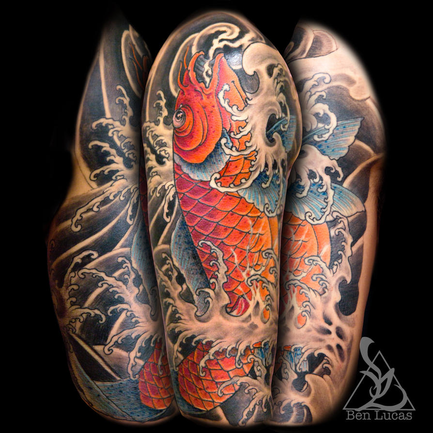 Jumping koi fish half sleeve tattoo by Ben-Lucas on DeviantArt
