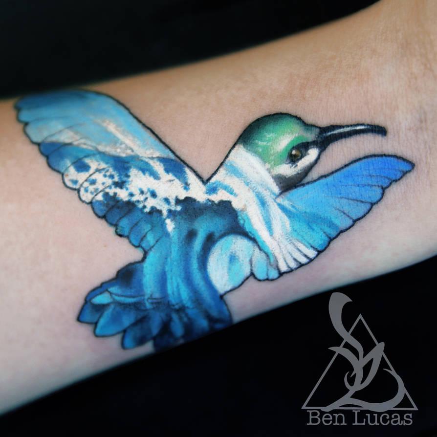 Hummingbird And Tidal Wave Small Wrist Tattoo By Ben Lucas On Deviantart