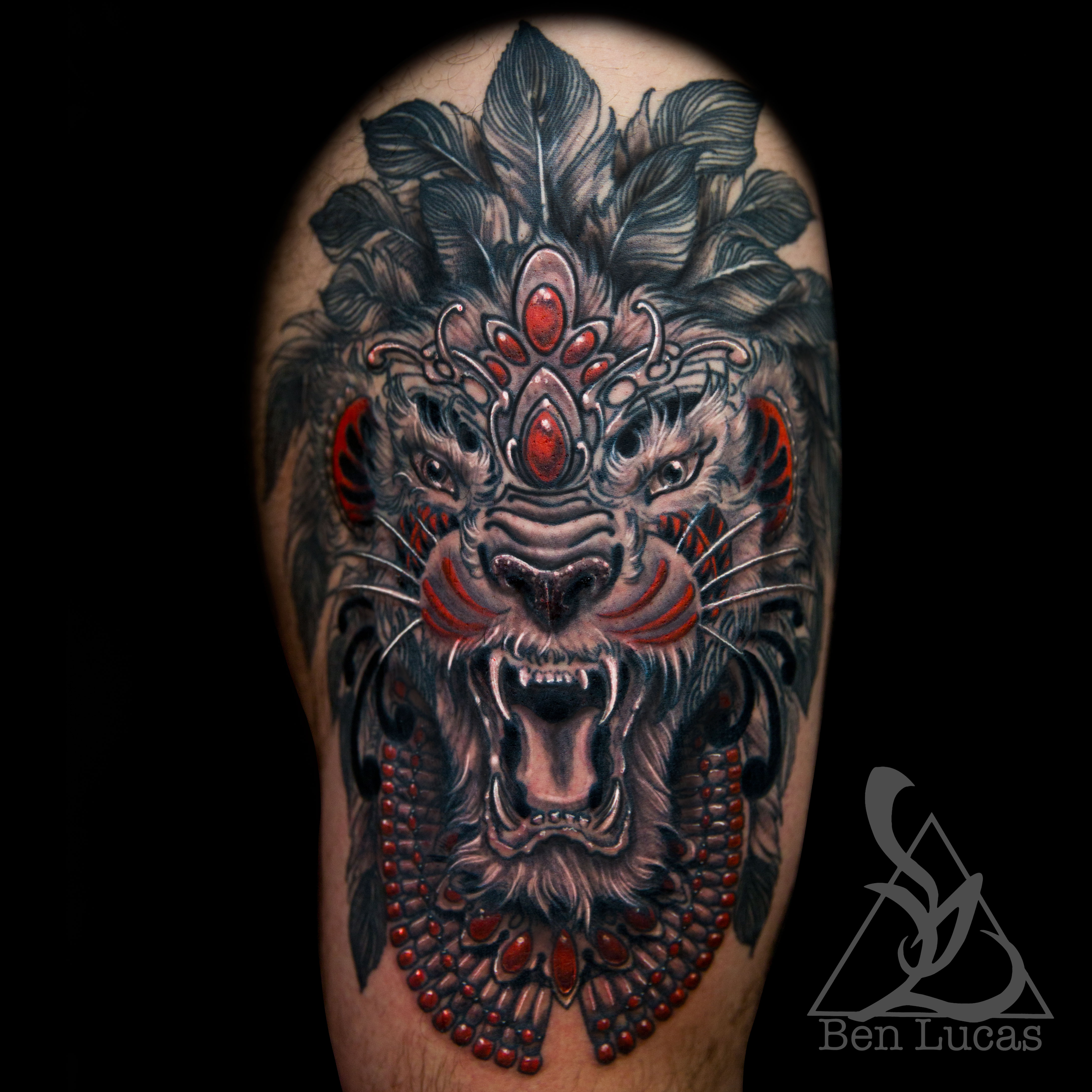tribal lion skull tattoo the image kid has it. Black Bedroom Furniture Sets. Home Design Ideas