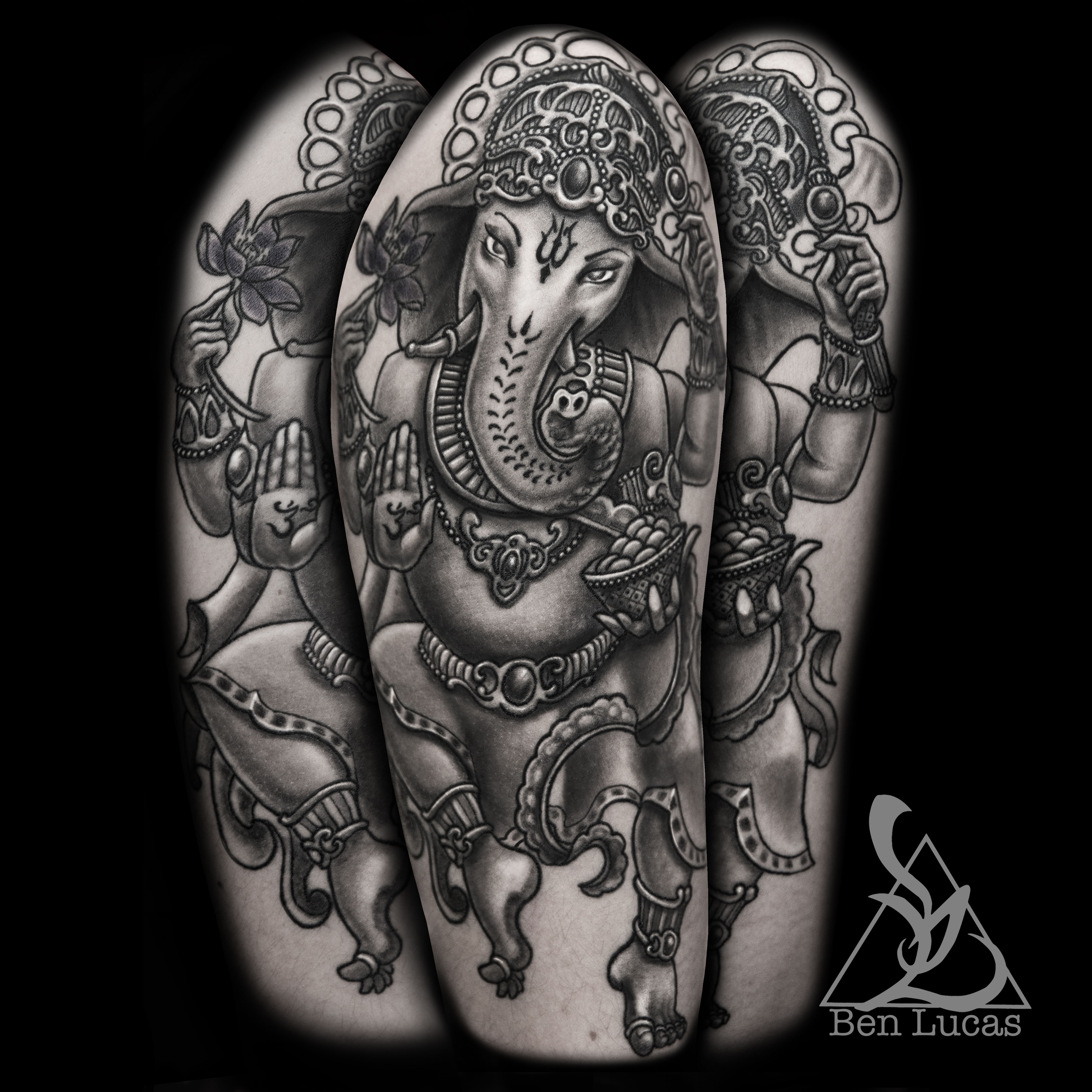 Black and grey ganesha half sleeve tattoo on upper by ben for Upper arm half sleeve tattoos