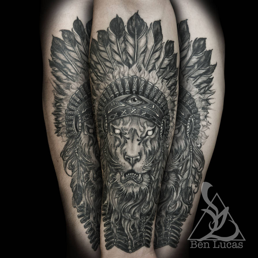 ce0f4aa44 Brandons-lion-with-indian-headdress-in-black-and-g by Ben-Lucas on ...