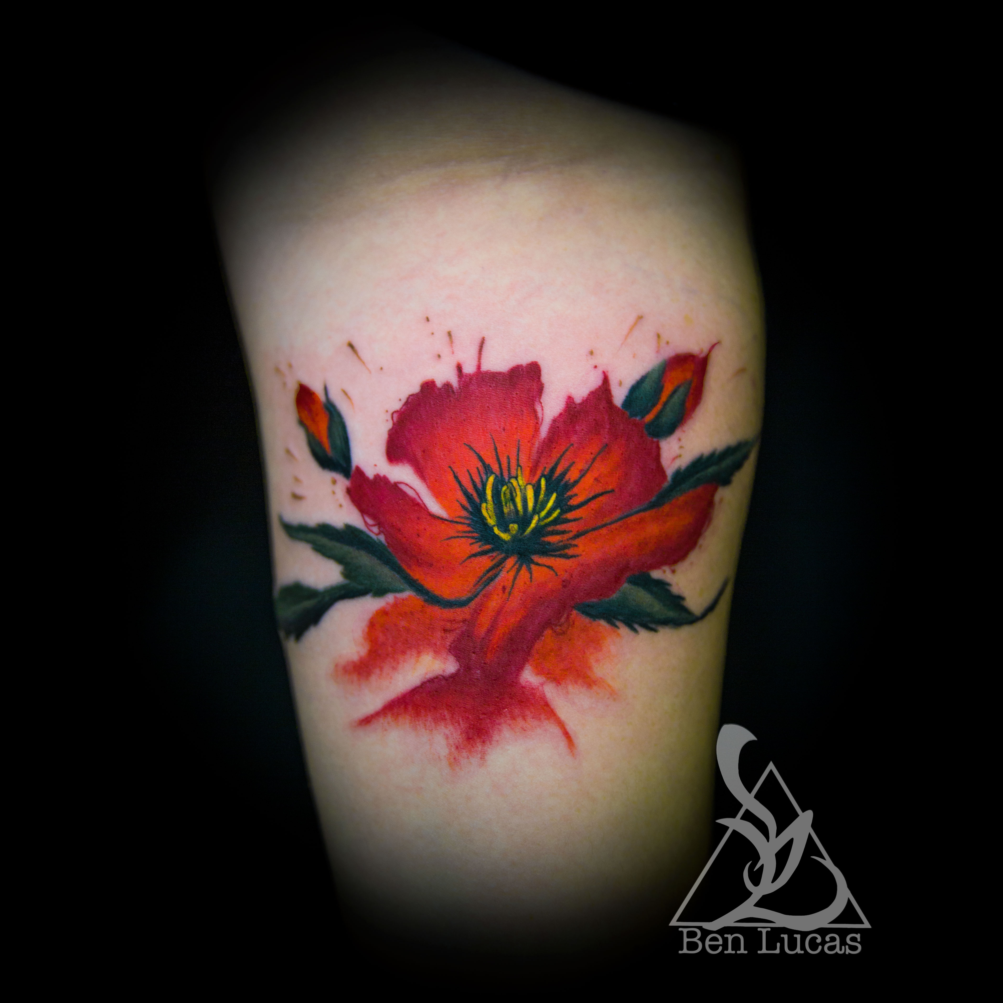 Colorful Watercolor California Poppy Wrist Tattoo By Ben Lucas On